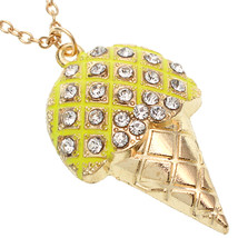 Yellow Rhinestone Ice Cream Cone Chain Necklace - $9.99