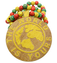 Yellow Wooden The World Is Yours Beaded Necklace - $13.75