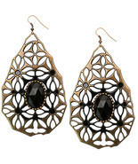 Black Bronze Large Gem Stone Teardrop Dangle Ea... - $8.99