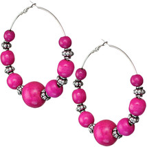 Pink Wooden Beaded Round Hoop Earrings - $7.58