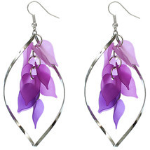 Purple Cascade Dangle Leaf Hoop Earrings - $7.01