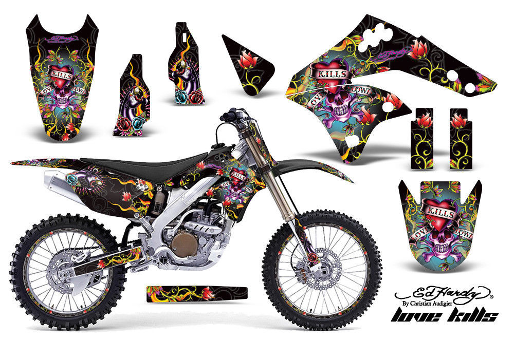 Kit Grafica Decalcomania Wrap + Targhe per Kawasaki KX250F 2006-2008 Edhlk Blk