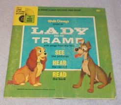 Vintage Disneyland Lady and the Tramp See Hear Read Book Record 1965 - $6.95