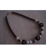 Chunky Chocolate Swirl, Pearly Plastic Bead Necklace - $6.99