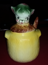 "Vintage American Bisque Cookie Jar ""Pup In Pot"" - $40.00"