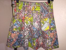 ANTHROPOLOGIE MAEVE CARTE NEOPRENE SKIRT STREET MAP OF PARIS SIZE 2P - $47.51
