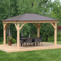 PATIO CANOPY GAZEBO 12x 14Ft Solid Wood Base Aluminum Top Outdoor Garden... - $3,799.00