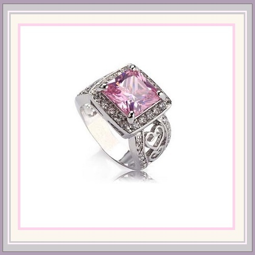 Rectangle Pink Cubic Zirconia Rhinestone Diamondette Sterling Silver Plated Ring