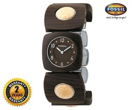 FOSSIL ES1835 Women's Square Wooden Watch Brown Wood Strap Round Brown Dial - $222.01