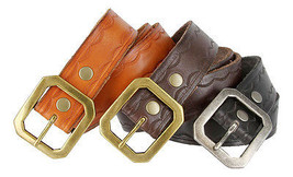 Woven Tooled Full Grain Genuine Leather Belt with Corner Buckle  Sizes 3... - $26.55