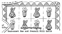 Sunbonnet Sue Overall Sam Iron-on Embroidery Transfer Patterns DIY Quilt Designs - $4.89