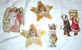 Set of 5 Victorian Style Double Sided Paper Ornaments - $10.99