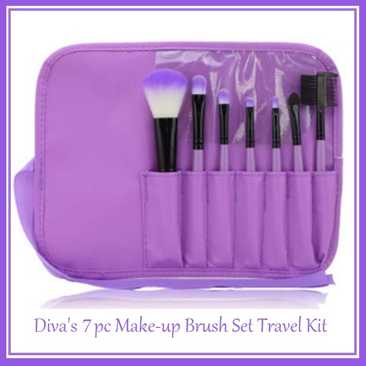 Divas 7 pc Make-up Blush Eye Shadow Liner Lip Mascara Brush Set Travel Kit