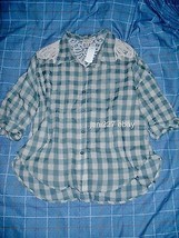 Crochet Crinkled Boxy Plaid Shirt M - $11.88