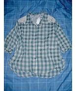 Crochet Crinkled Boxy Plaid Shirt M - $11.88