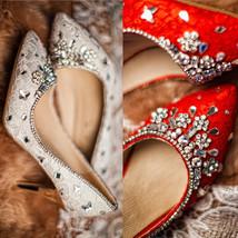 White Lace closed toe wedding shoes,Designer Bridal Shoes,Crystals wedding heels - $98.00