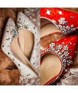White Lace closed toe wedding shoes,Designer Bridal Shoes,Crystals weddi... - $98.00