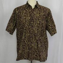 Hilo Hattie Camp Aloha Leaves 100% Cotton Lawn Short Sleeve Shirt Medium... - $23.38