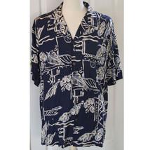 Hilo Hattie Hawaiian Camp Aloha Palm Hibiscus Shirt Blue Size 2XL XXL EUC - $28.04