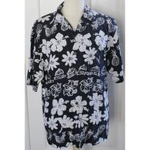 Hilo Hattie Camp Aloha Hawaiian Shirt 100% Silk Pineapple Hibiscus Sz La... - $37.39