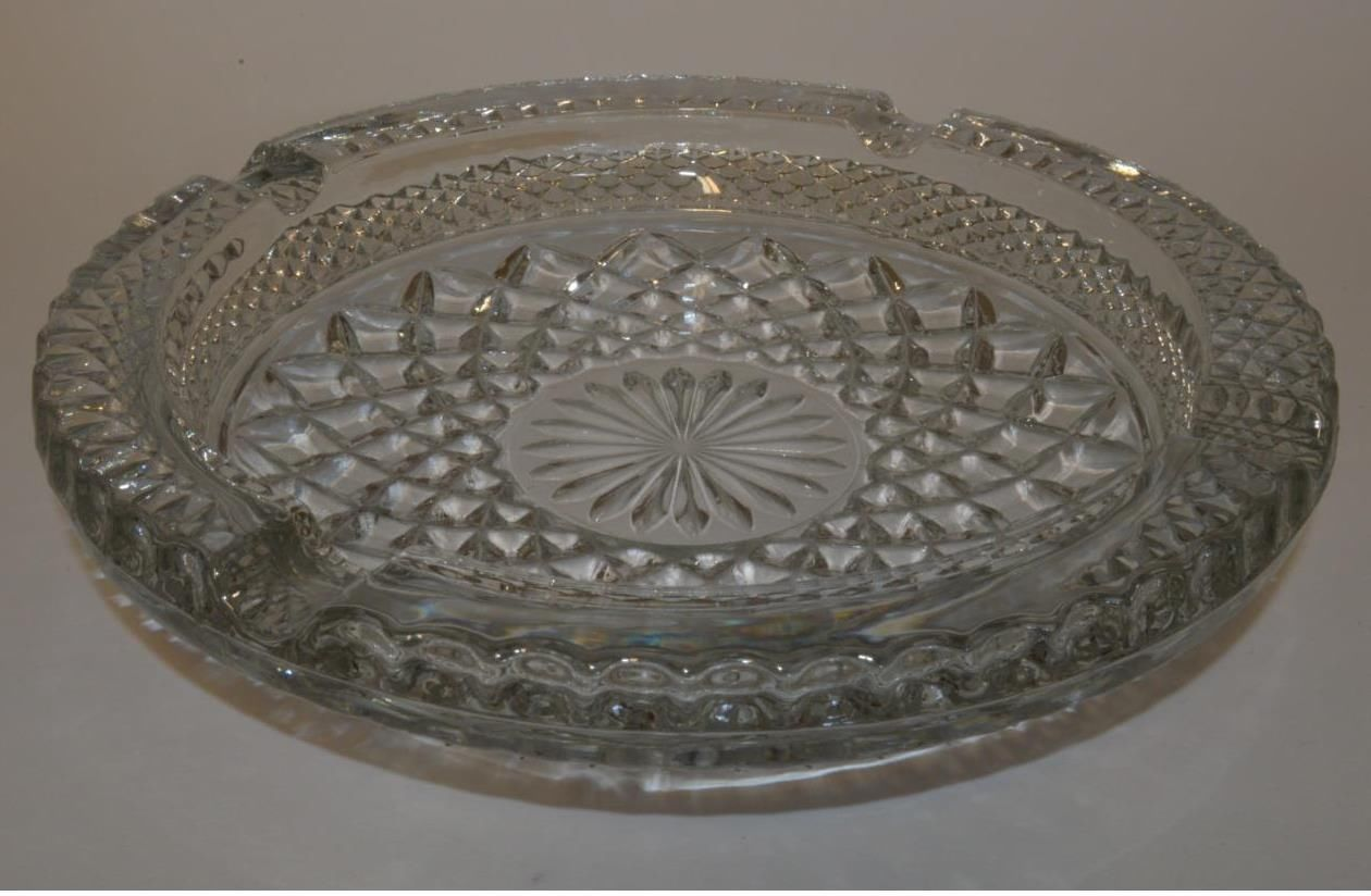 1960s Anchor Hocking Wexford Round Serving Tray Clear Pressed Glass
