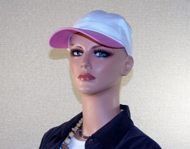 Pink & White Cotton Twill Cap ~ 6 Panel, Adjustable ~ Breast Cancer Awar... - $8.77
