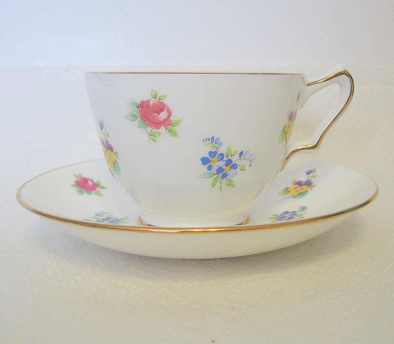 Crown Staffordshire Teacup and Saucer Set - $31.18