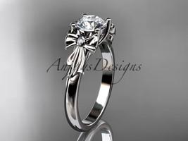 14kt white gold diamond unique engagement ring, wedding ring ADER154 - $925.00