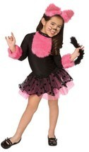 CUTIE CAT CHILD GIRLS COSTUME Kids Pink Black Dress Animal Theme Party H... - $28.90