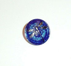 Pretty Sapphire Blue w/ Hand Painted Silver Dragonfly Czech Glass Button... - $6.43