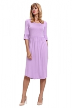Purple Ruffle Sleeve Midi Jersey Dress - $24.98