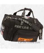 Black 1680d Live To Ride Motorcycle Duffle Bag with Patches Tote Carry L... - $36.96