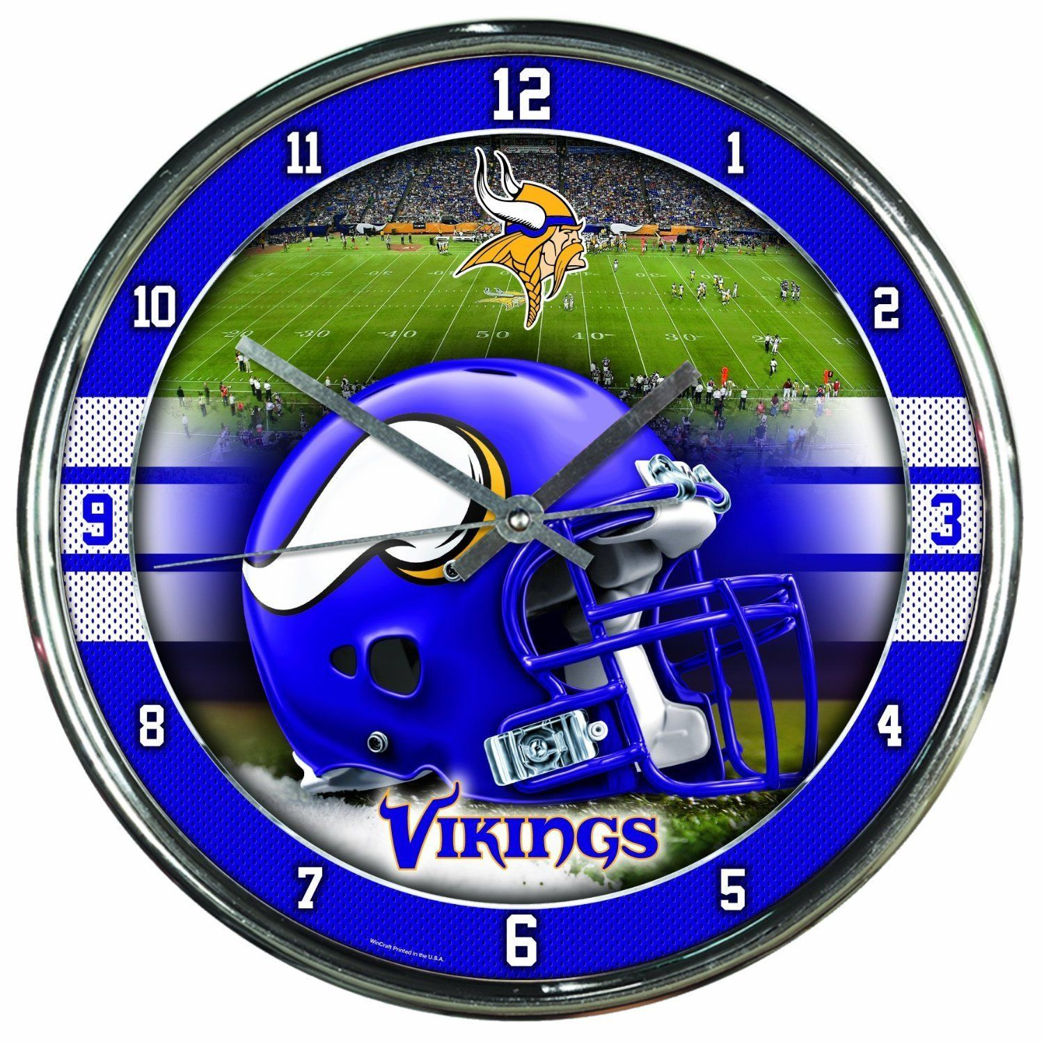 "MINNESOTA VIKINGS CHROME SILVER 12"" ROUND QUARTZ WALL CLOCK NFL FOOTBALL"