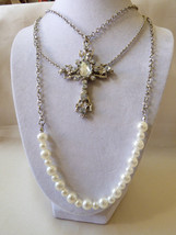 "Multi chain cascade fashion silver tone Cross pendant white pearl faux 21""L - $20.79"