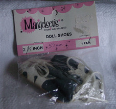"Dark Grey & White Vinyl Doll Shoes 2 1/8"" x 1"" NIP - $5.50"