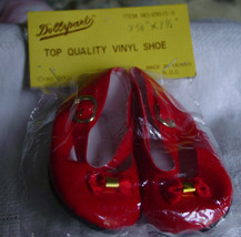 "Red Vinyl Doll Shoes 3 5/8"" x 1 1/2"" NIP - $5.50"