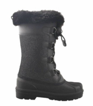 Cat & Jack Big Girls Youth Black Constance Faux Fur Winter Waterproof Snow Boots image 2