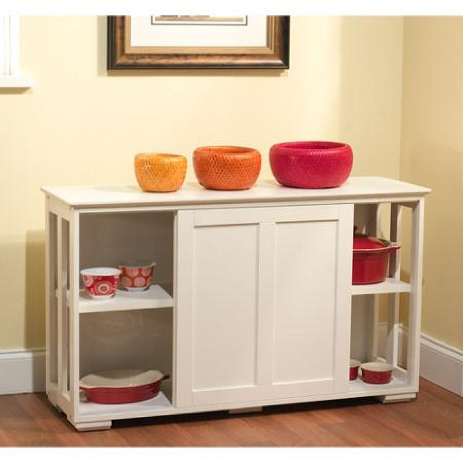 Storage Kitchen Cabinet: White Kitchen Storage Cabinet Stackable Sliding Door Wood