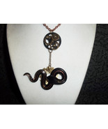 Steampunk Snake and Gear necklace and earring set - $30.00