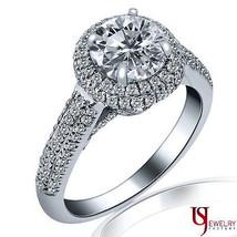 1.91 Carat (1.08) G/H-SI1 Halo Round Cut Diamond Engagement Ring 14k White Gold - $4,364.91