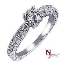 Natural Round Diamond Engagement Ring Millgrain Edge 14k 0.89 Carat (0.4... - €1.273,38 EUR