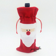 Christmas Party Santa Claus Wine Bottle Cover Bag Dinner Xmas Table Deco... - $2.99