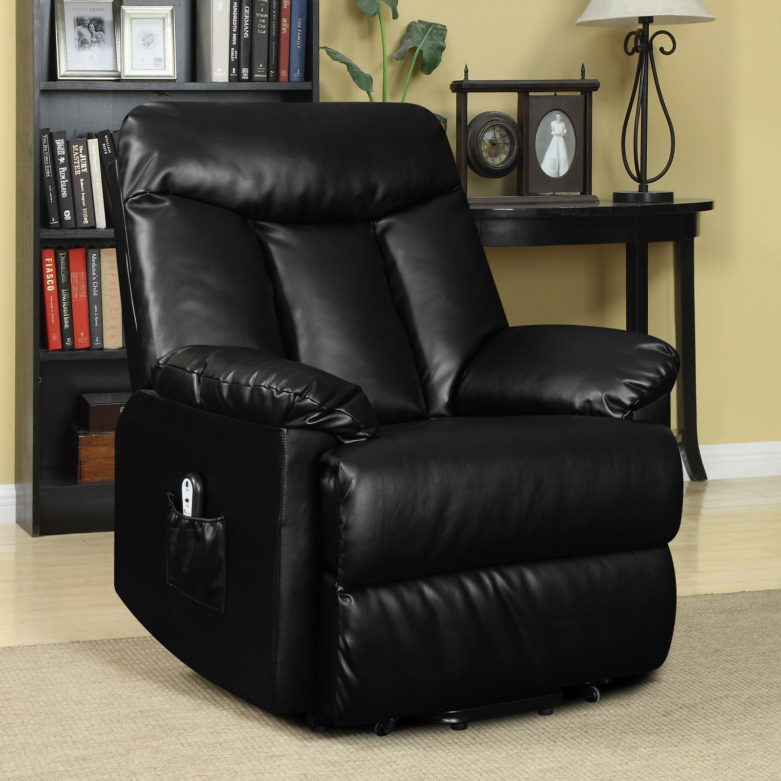 Electric lift chair recliner black leather power motion for Recliner lift chair