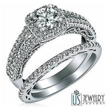 Halo Set Round Diamond Wedding Bridal Bands Set 14k White Gold 1.33ct F/G-VS2 - $3,018.51