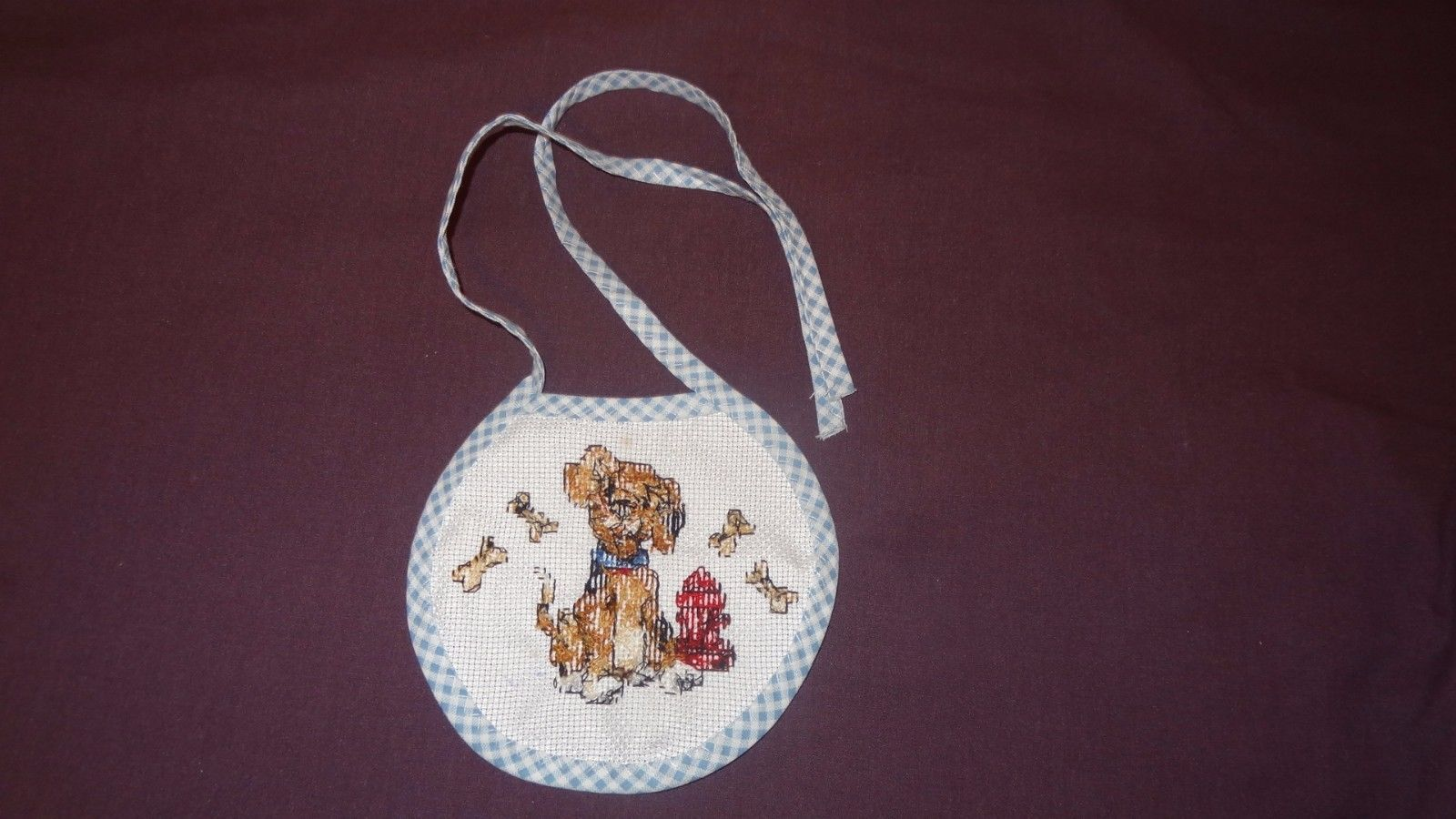 New Baby Bib Puppy Dog Bones girl boy unisex Handmade Finished Cross Stitch