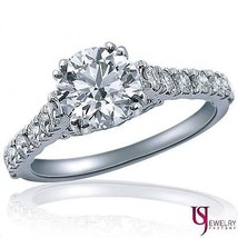 1.95(1.20) Ct F-SI1 Round Diamond Engagement Ring Cathedral Shank 14K Wh... - €3.955,41 EUR