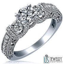 Three Stone Round 1.52 ct (0.55) F-VS1 Diamond Vintage Engagement Ring 14k Gold - $2,652.41