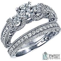 1.95ct F/G-VS2 Three Stone Round Cut Diamond Wedding Ring Set 14k White Gold - $3,777.05