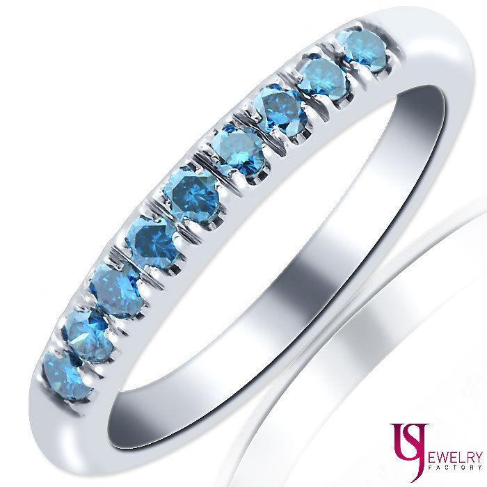 Blue 0.30ct Round Cut 9 Stone Diamond Wedding & Anniversary Band 10K White Gold - $246.51
