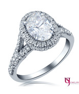 Oval Shape 1.78 Ct Halo Diamond Engagement Ring Split 18k White Gold Sha... - $4,157.01